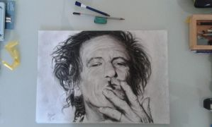 Charcoal drawing of Keith Richards.  by yvoske