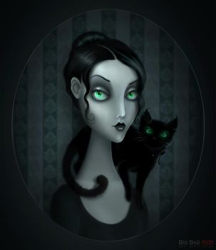 Lady With Cat by BigBad-Red