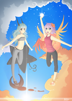 Fly High - Madam Sunrise and Night Sky by Puffyko