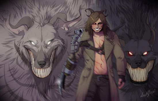 Garm and the hyenas from Hell by LadyFiszi