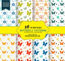 16 Butterfly Patterns in Bright Colors by fiftyfivepixels