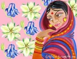 Hindu Woman Amongst Flowers by LoVeras