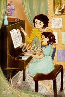 Mother and me at the piano by Vilva