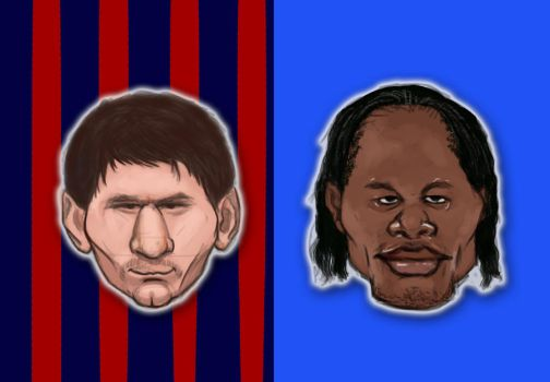 Messi vs Drogba caricature by pati88