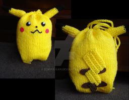 Knit Pikachu Bag by Elmira-san