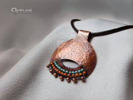 Hammered copper pendant by artual