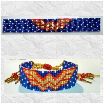 Beaded Wonder Woman Bracelet by ravenarcana