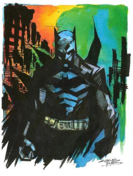 Watercolor Dark Knight by KidNotorious