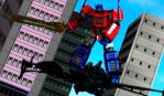 Optimus vs Megatron by WOLFBLADE111