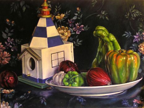 Still Life With Bird House And Peppers by davidvigon