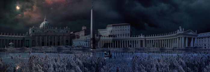 Apocalyptic scene to Saint Peter Square in Rome by jordygraph
