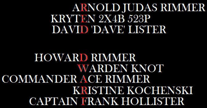 Red Dwarf hidden among names by DoctorWhoOne