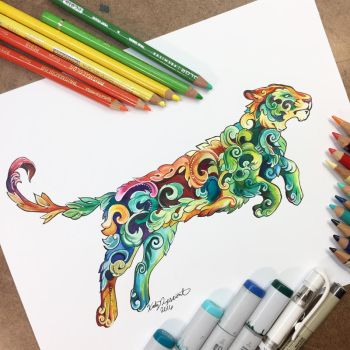 Colorful Filigree Tiger! by Lucky978