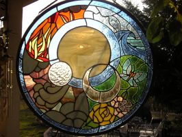 Elements stained glass by LoneDireWolfess
