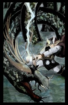 Thor vs Migard Serpent by tobiasneal
