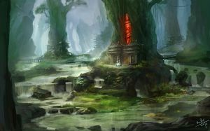 Swamp village by xiaoxinart