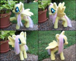12 Inch Needle Felted Posable Fluttershy Plush by SnowFox102