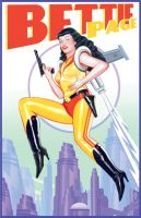 Bettie Page Jet Pack Retro Sci Fi Poster Design by JSHatton