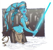 Aayla Secura Sketch by KelleeArt