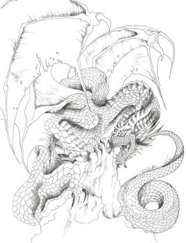 Smaug Lineart by Khaoseden