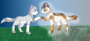 Featherfoot and Brindle by nikkithedog3