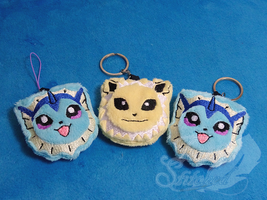 Vaporeon and Jolteon Soft Charms by FeatherStitched