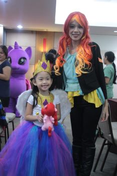 Sunset Shimmer and Little Princess Celestia by Misachico
