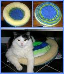 Stuffed cat bed and pillow by KnitLizzy
