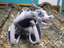 Silver and blue winged dragon amigurumi by ShadowOrder7