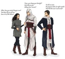 Altair is a busy man by Purple-Meow