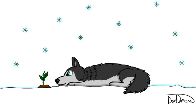 Husky in the snow by AnDrewDrawsArt