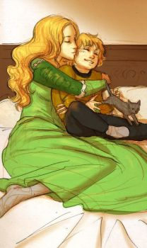Cersei and Tommen cuddle by Pojypojy