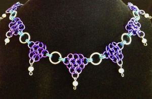 Purple and Blue Drop Pearl Necklace by Sercive