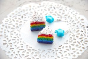 Rainbow Cake Earrings by nuclearpomegranate