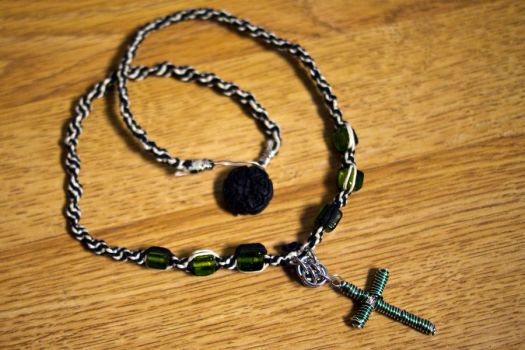 White Black, and Green Hemp Necklace with cross by brwainer