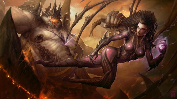 Kerrigan VS Azmodan by ArtofTy