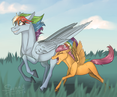 Rainbow Dash and Scoot by Sunny125