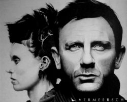 The girl with the dragon tattoo cover drawing by Martin--Art
