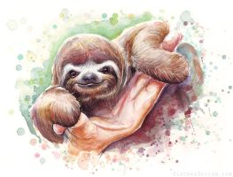 Baby Sloth Watercolor Animal Art by Olechka01