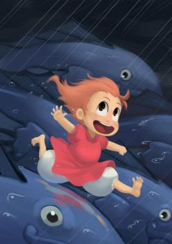 TRIBUTE TO GHIBLI 1 - PONYO by ashvey