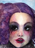 Purple hair, smeared makeup by pink-porcupine