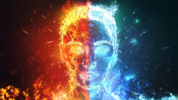 Dualism HD Wallpaper (Fire and Water) by hakeryk2