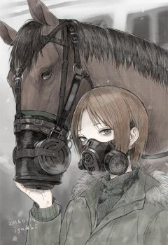 War horse and gas mask by isaaki