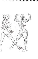Anatomical sketch of girl and breasts by QuirogaArt