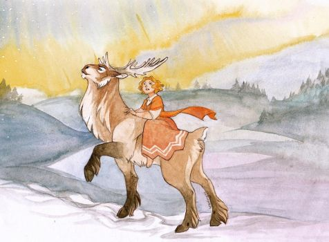 Gerda and the Reindeer by wanlingnic