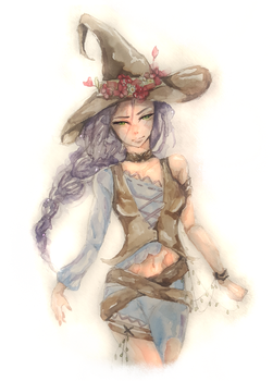 Watercolor witch by Sontancer