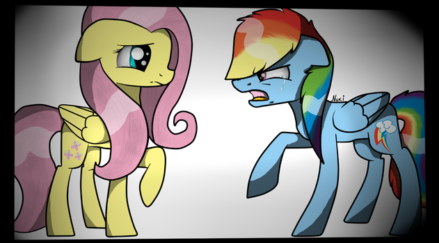 Go Away! Rainbow Dash and Fluttershy by NukiARTS