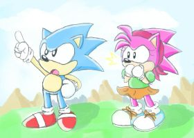 Amy finds Sonic by PokeSonFanGirl
