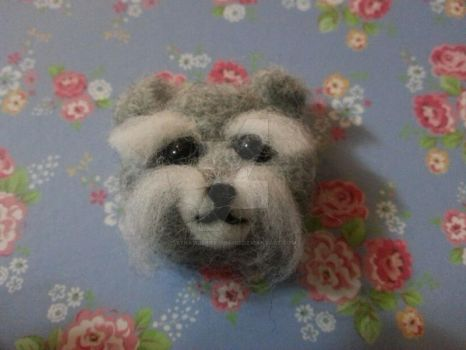 Needle felted Miniature Schnauzer face by StrawberryGumiho
