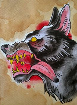 Traditional Tattoo    Wolf    By Psychoead-d59 by sarah91152